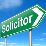 Illustration depicting a sign with a Solicitor concept.
